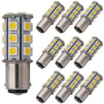 GRV Ba15d 1142 1004 High Power Car LED Bulb 24-5050SMD DC12V Warm White Pack of 10