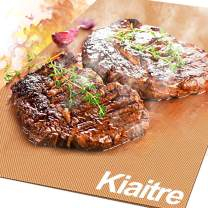 Kiaitre BBQ Grill Mat Non Stick- Set of 3 Barbecue Mat & Baking Mat-Reusable and Easy to Clean, for Baking and Grilling on Gas, Charcoal, Electric Grill