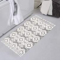 Boho White Rug, Geometric Woven Bathroom Rug 1.6'x2.6 with Tassels, Small Bohemian Bath Mat