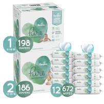 Pampers Baby Diapers and Wipes Starter Kit (2 Month Supply) - Pure Protection Disposable Baby Diapers Sizes 1 (198 Count) & 2 (186 Count), with Aqua Pure Baby Wipes, 12X Pop-Tops, 672 Count