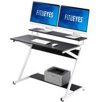 FITUEYES Computer Desk with Monitor Shelf Gaming Corner Desk for Small Spaces