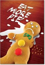 12 'Eat More Pie' Boxed Christmas Cards with Envelopes 4.63 x 6.75 inch, Hilarious Gingerbread Man Holiday Notes, Silly Cookie Christmas Cards, Funny Christmas Stationery B1353
