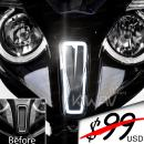 KiWAV Gray Trapezoid Front Fender LED Light waterproof compatible with Kymco Downtown 350i