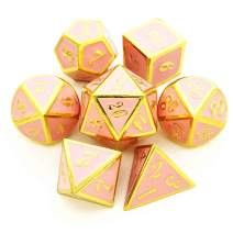 HAOMEJA Metal Dice D&D 7 Set Dice for Dungeons and Dragons DND 7 Solid Dice Pathfinder Roll Playing Games Dice (Gold Pink)
