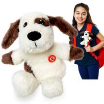 GoPals Stuffed Animal Plush Toy - Clip on to Backpack, car seat Belt, Bike and Scooters. Best Gifts for Kids. (Dash The Dog)