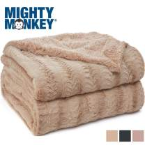 MIGHTY MONKEY Premium Pet Blanket, 40x32 Inch, Machine Washable, Soft and Cozy Reversible Sherpa Throw Blankets for Pets, Plush Material, Non Shedding Cat, Kitten Throws, Medium Size, Soft Beige