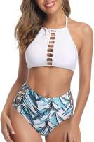 Pxmoda Womens Swimsuits Two Pieces Bathing Suits Top Keyhole High Waisted Bottom Halter Bikini Set
