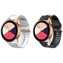 TiMOVO Band Compatible with Samsung Galaxy Watch 3 41mm, [2-Pack] Printing Floral Band Silicone Strap fit Galaxy Watch Active/Active 2/Galaxy Watch 42mm/Vivoactive 3 - White Marble & Black Ash Flower
