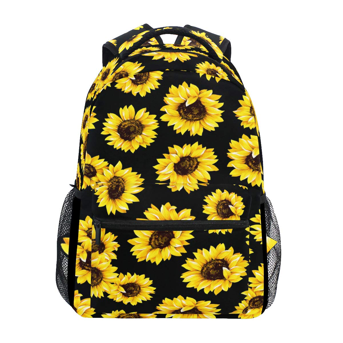 Sunflower Floral Laptop Backpack, Flower on Black Water Resistant College Students Bookbags Elementary School Bags Travel Computer Notebooks Daypack Bookbag for Men Women Kids Boys Girls