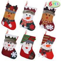 "JOYIN 6 Pack 10"" Christmas Stockings, Xmas Stockings with Reindeer, Snowman & Santa Claus for Christmas Decoration, Party Favors and Holiday Season Supplies"