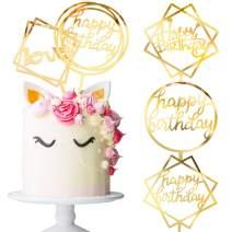 Whaline 5 Pcs Happy Birthday Cake Topper Acrylic Cupcake Topper, A Series of Birthday Cake Supplies Decorations
