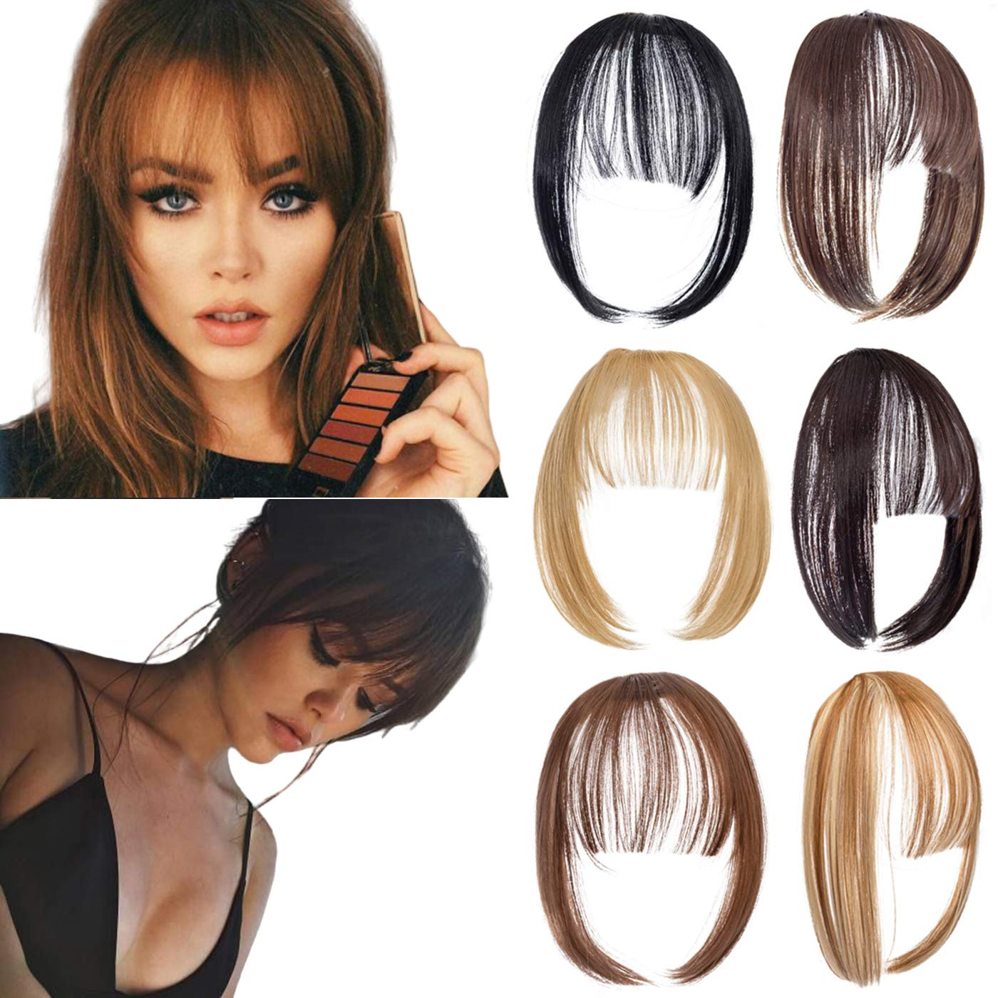 XBwig Clip in Bangs Fringe Hairpieces Hair Extensions One Piece Straight Cute Layered Front Neat Air Bang with Temples (Light Red Brown)