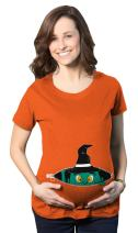 Crazy Dog T-Shirts Maternity Peeking Witch Baby Halloween Funny Pregnancy Gift T Shirt
