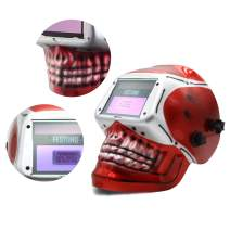 Auto Darkening Welding Helmet,Extra Large View Solar and Battery Powered,Fit for MIG ARC Welding TIG Red Skeleton Design