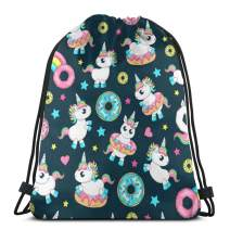 Cute Baby Unicorns With Donut Drawstring Bags Lightweight Backpack Sport Storage Polyester Bag For Outdoor Hiking Yoga Gym Traveling Swimming