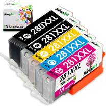 Kingjet Compatible Replacements for PGI-280 CLI-281, PGI-280XL CLI-281XL Ink Cartridges Work with TR7520 TR8520 TS6120 TS6220 TS9520 TS9521C TS702 Printers, 5 Combo Pack(1PGBK 1BK 1C 1M 1Y)