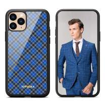 JOYSIDEA Plaid iPhone 11 Case, Premium Slim Fit Full-Body Protective Hybrid Phone Cover with Hard PC Back and Soft TPU Bumper Shockproof for iPhone 11 6.1 inch – Blue