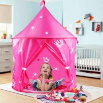 HONYAT Kids Tent Princess Castle for Girls with Play Food Pretend Set, Foldable Play Tents with Play Mat, Playhouse Tent with a Carrying Bag for Toddler Outdoor and Indoor (Pink)