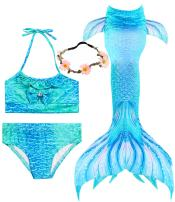 iGeeKid 3 Pcs Girls Swimsuit Mermaid for Swimming Princess Mermaid Birthday Party Supplies Gifts Set for 3-12Y