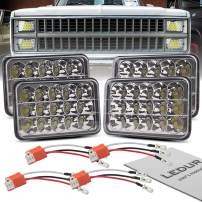 LEDUR 4x6 LED Headlights Dot Approved Hi/Lo Sealed Beam Replacement H4651 H4652 H4656 H4666 H6545 Compatible with Peterbilt Kenworth T600 W900 T800 Truck Peterbilt 379 S10 RV Freightliner