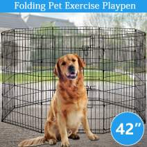 "Pet Dog Playpen 8 Panel 48"" Durable Metal Protable Foldable Indoor Outdoor Cat Puppy Exercise Pen with Door Animal Wire Yard Dog Fence Crate Kennel for Small Medium Large Dogs"