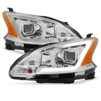 Fits 2013 2014 2015 Sentra LED DRL Projector Front Chrome Clear Headlights Headlamps Pair Left + Right