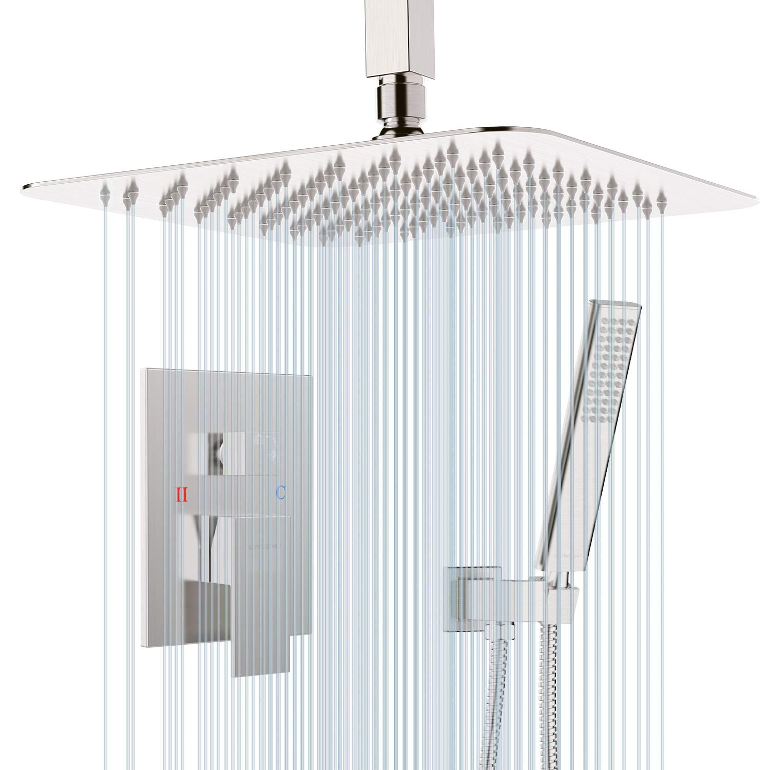 EMBATHER Shower System-Brushed Nickel Ceiling Shower Faucet Sets with 10 Inches Square Rain Shower Head and Handheld-Shower Combo Set for Bathroom-Easy Installation- Eco-Friendly(Valve included)