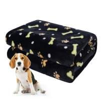 softan Dog Blanket, Fluffy Warm Dog Bed Cover Paw Print Fleece Pet Blanket for Small, Medium Large Dog, Cat, Puppy, Kitten, Other Animals, Black, Grey