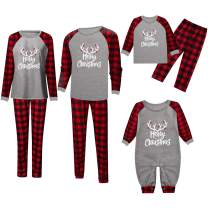 CAIYING Family Matching Christmas Pajama Sets Plaid Letter Printed Long Sleeve Tee and Plaid Pants Loungwear