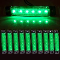"cciyu 10x Green 3/8"" 6 LED Truck Bus Boat Trailer Side Marker Indicators Light, Led marker lights Replacement fit for trucks, Marker light, Cab Marker, RV Marker light, Rear side marker light"