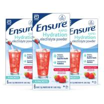 Ensure Rapid Hydration Electrolyte Powder, Prebiotics to Support Digestive Health, Strawberry Chill, Electrolyte Drink Powder Packets, 0.6 Oz, 18 Count