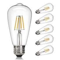 CMYK Vintage LED Edison Bulb, 4W, Edison Light Bulb 40W Equivalent, Dimmable LED Daylight White 4000K, ST64 LED Filament Bulb, E26 Medium Base, E26 Edison Bulb for Decorate Home, Clear Glass, 6 Pack
