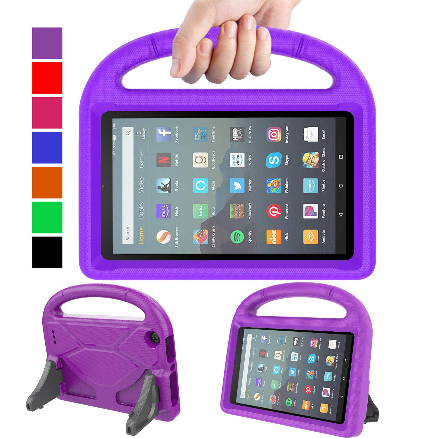 "MENZO Kids Case for All-New Fire 7 Tablet (9th Generation - 2019 Release), Light Weight Shockproof Handle Stand Kids Friendly Case for Amazon Fire 7 2019 and 2017 (7"" Display), Purple"