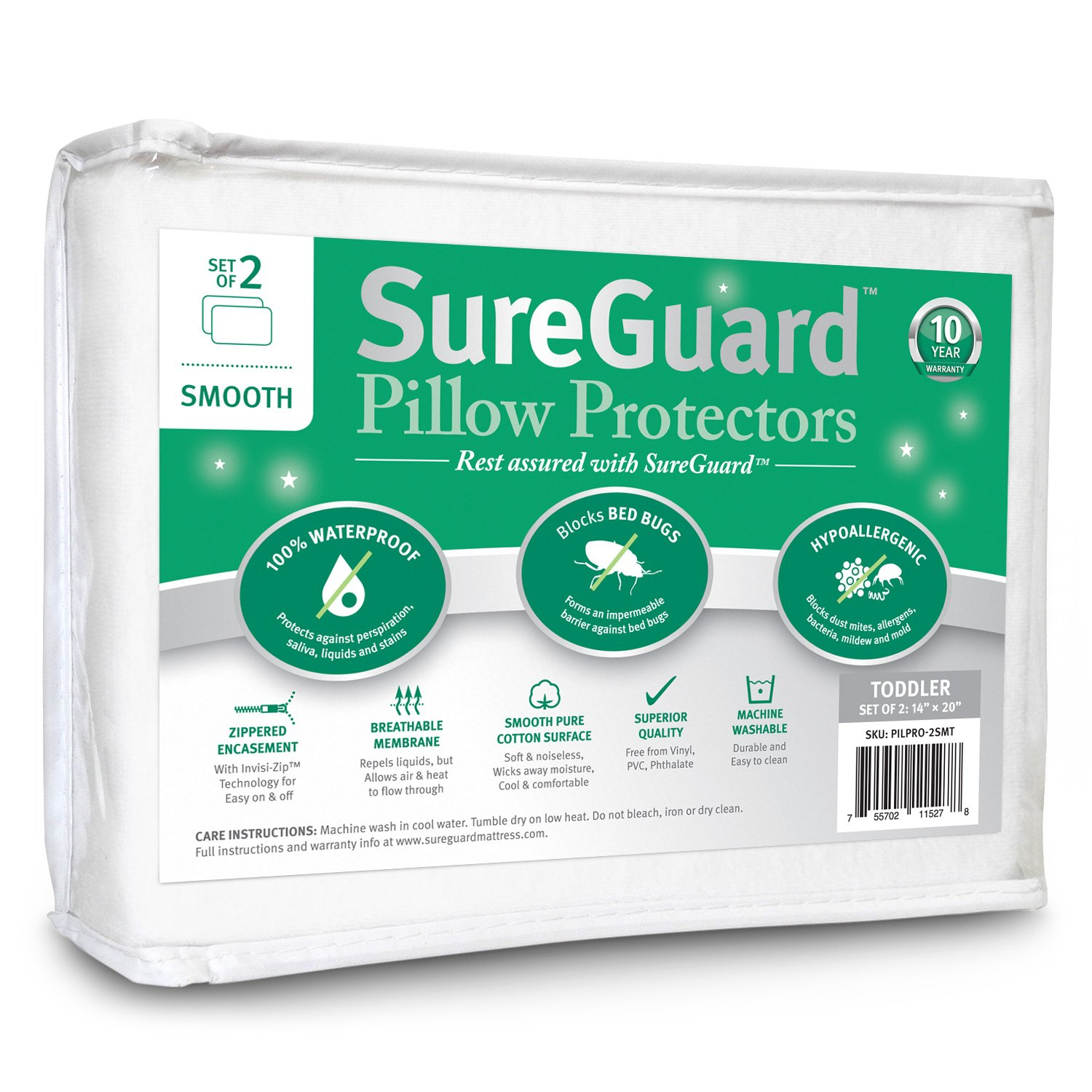 Set of 2 Travel Size SureGuard Pillow Protectors - 100% Waterproof, Bed Bug Proof, Hypoallergenic - Premium Zippered Cotton Covers - 10 Year Warranty - Smooth