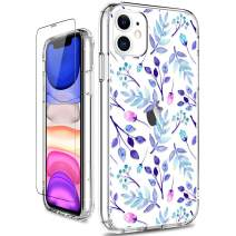 GiiKa iPhone 11 Case with Screen Protector, Clear Heavy Duty Protective Case Floral Girls Women Shockproof Hard PC Back Case with Slim TPU Bumper Cover Phone Case for iPhone 11, Blue Florals