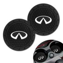Moolily 2PC Car Logo Vehicle Travel Auto Cup Holder Insert Coaster for Infiniti QX50 Q50 Q70 Q70L Q60 QX30 QX60 QX80,Silicone Anti Slip Cup Mat,Business Gift