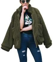 PRETTYGARDEN Women's Fashion Long Sleeve Lapel Zip Up Faux Shearling Shaggy Oversized Coat Jacket with Pockets Warm Winter