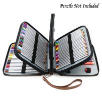 BTSKY160 Slots Colored Pencil Case- Deluxe PU Leather Handy Pencil Holder Organizer Zipper Pencil Box Large with Handle Strap for Colored Pencils Watercolor Pencils(Brown)