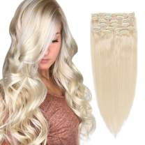 Remy Clip in Hair Extensions Plaitnum Blonde Double Weft Clip in Extensions Thick Straight Real Human Hair Extesnions Clip on 8 Pcs 120G/ Set 16 Inch for Women