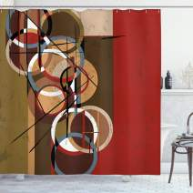 """Ambesonne Modern Art Shower Curtain, Retro Surreal Abstract Circular and Square Shaped Artwork Lines on Murky Base, Cloth Fabric Bathroom Decor Set with Hooks, 75"""" Long, Ruby"""