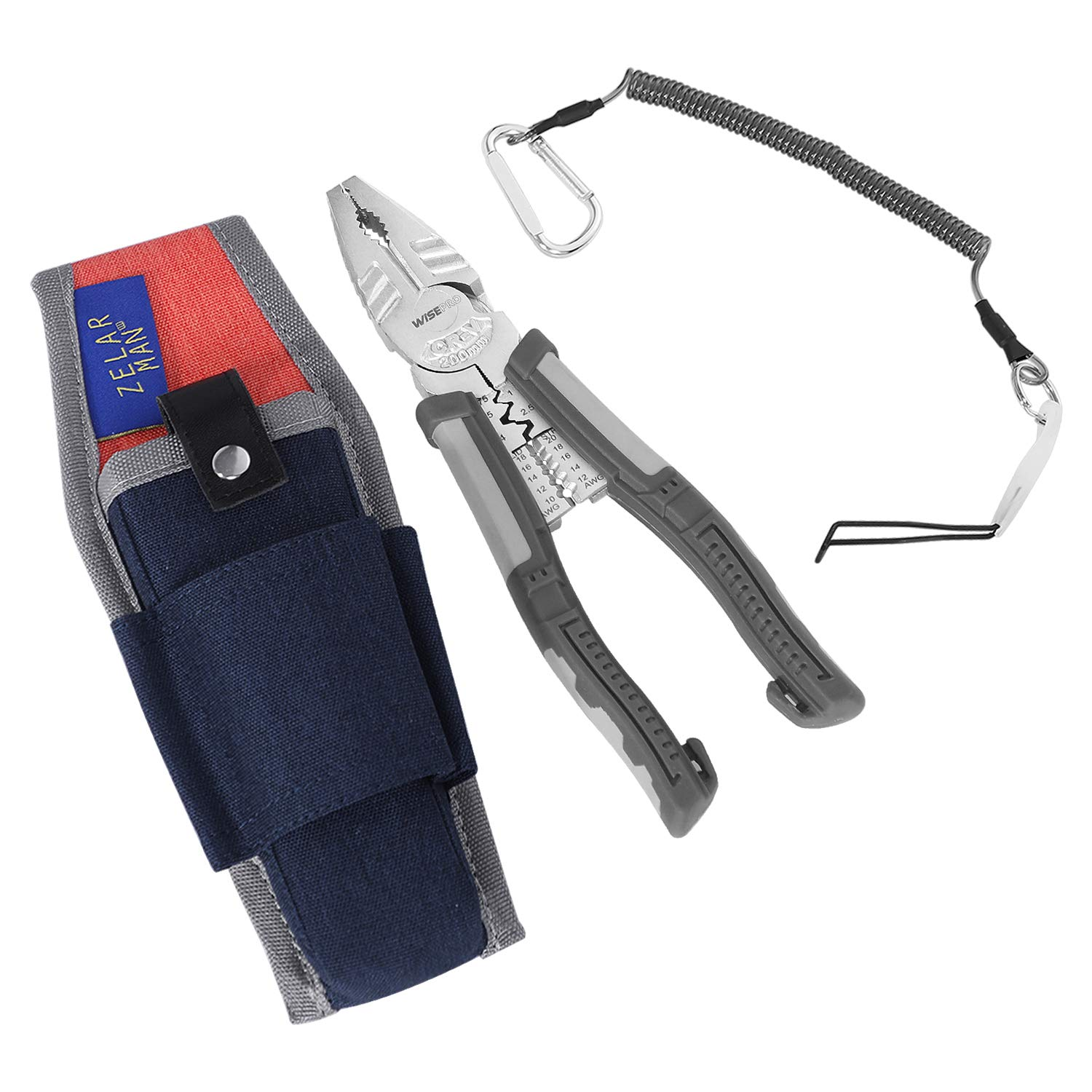 Lineman's Pliers Combination Pliers for Cutting, Stripping, Crimping, 8 Inch Screw Extraction Pliers with Plier Holder & Lanyard