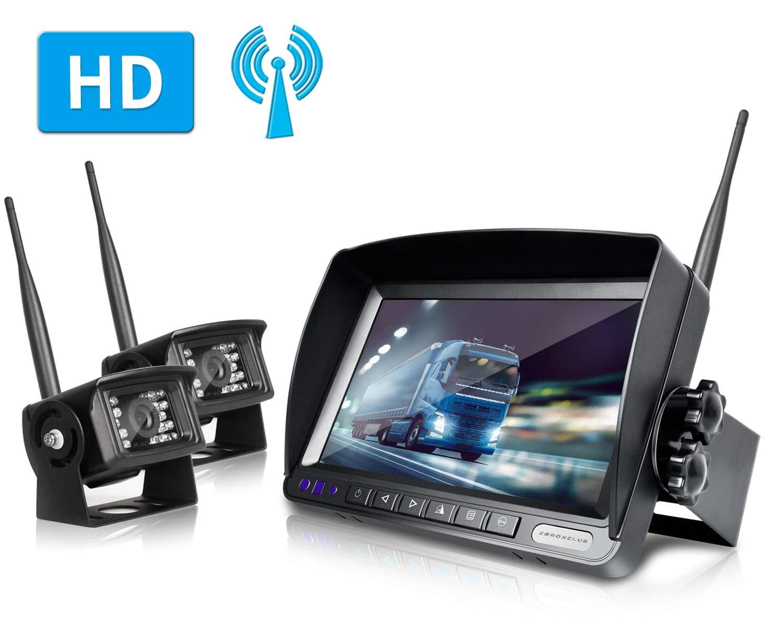 ZEROXCLUB Digital Wireless Backup Camera System Kit No Interference IP69 Waterproof Wireless Rear View Camera 7''Wireless Reversing Monitor for RV/Truck/Semi-Trailer/Box Truck (WX02)