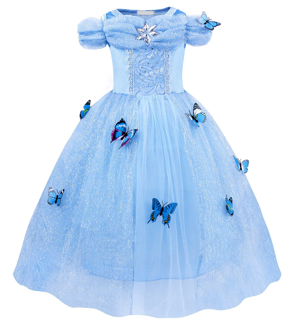 HenzWorld Little Girls Dresses Dress Up Costume Princess Birthday Party Cosplay Role Pretend Long Layered Tutu Skirt Outfits Butterfly Blue Children Kids 4T Age 3-4 Years