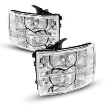 KAC Headlight Assembly Kit for 2012 Silverado Headlights, Replacement Headlight Compatible with 2007-2014 Silverado 1500 2500 3500 Chrome Housing clear Reflector Driver and Passenger Side