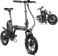 Eahora X3 350W Folding Electric Bicycle 14inch Electric Bikes for Adults with Full Suspension, Dual Disc Brakes, 36V 10.4Ah Key-Secured Removable Lithium-ion Battery, 3 Modes Power Assist