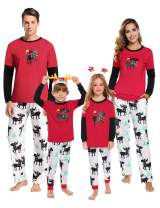 Aibrou Holiday Family Christmas Pajamas Matching Set Cotton Santa Claus Kids Sleepwear Holiday Pajama PJ Sets
