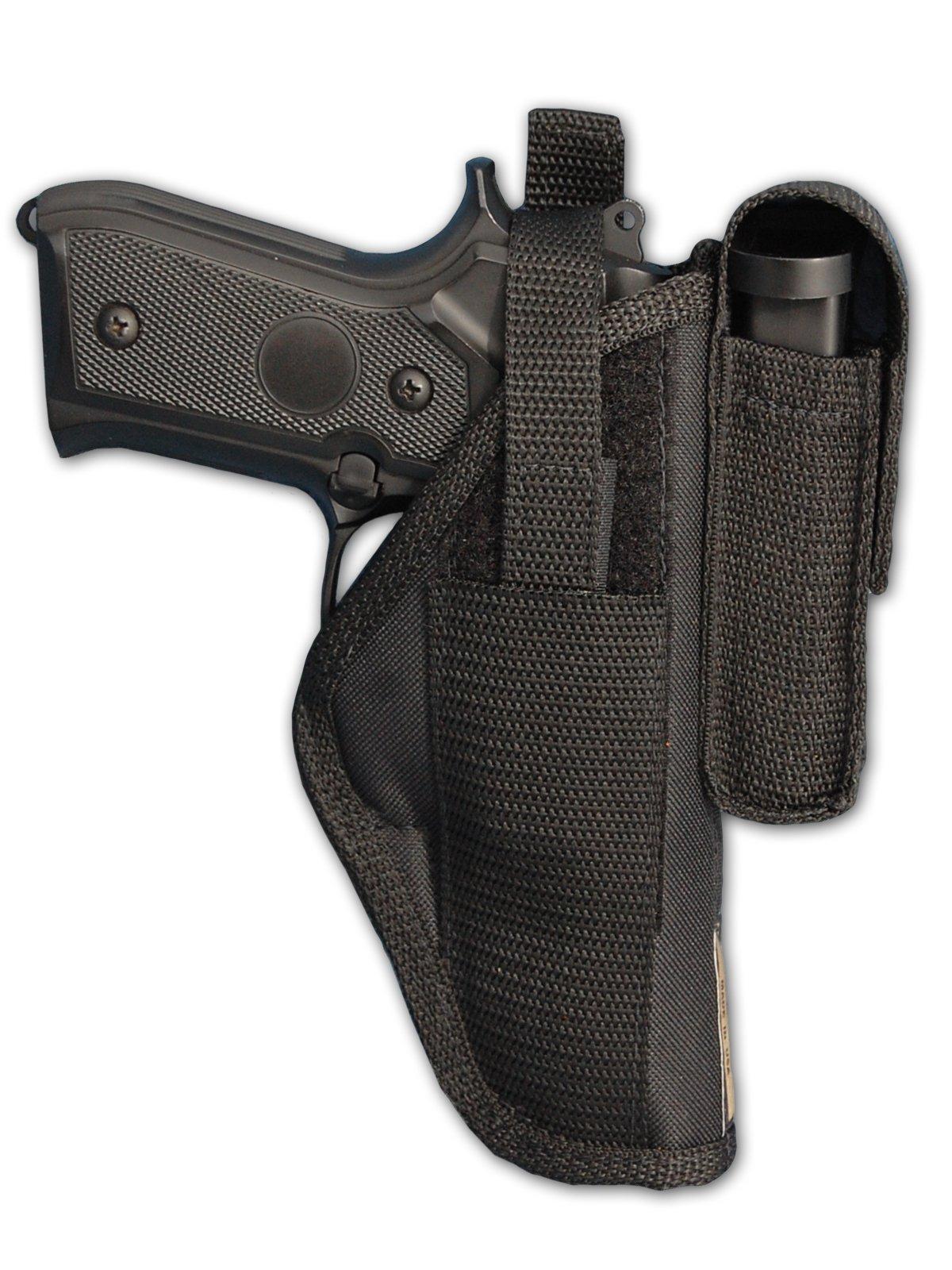 Barsony New Gun OWB Belt Holster w/Magazine Pouch for Full Size 9mm 40 45 Pistols