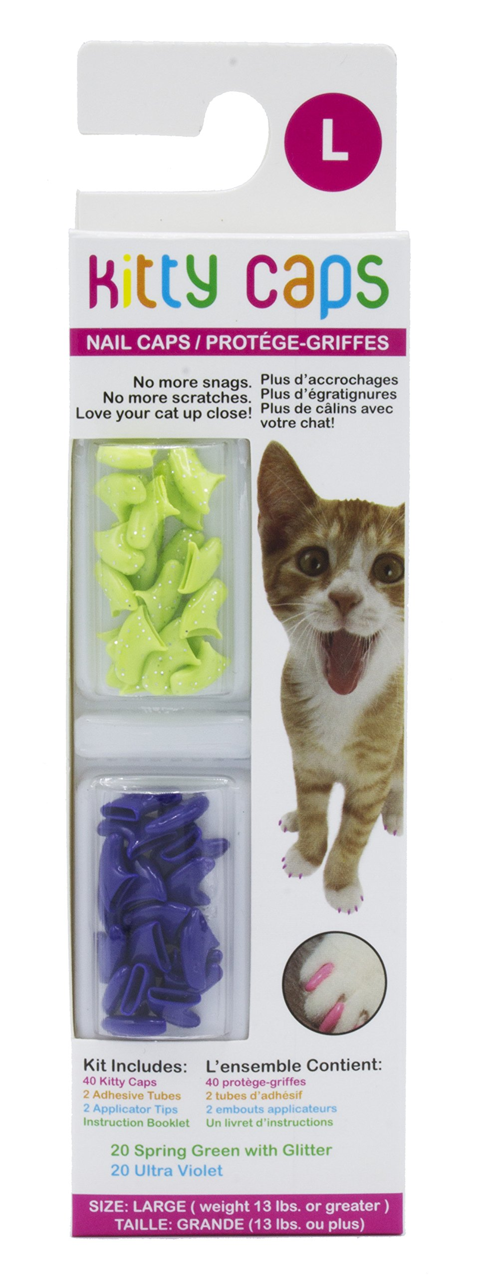 Kitty Caps Kitty Caps Nail Caps for Cats | Safe & Stylish Alternative to Declawing for Cats | Kitty Nail Caps Stop Snags and Scratches | Available in Multiple Sizes, Styles, and Colors