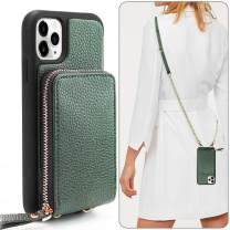 iPhone 11 Pro Wallet Case, JLFCH iPhone 11 Pro Crossbody Case with Zipper Credit Card Slot Holder Wrist Strap Lanyard Protective Cover Women Girl Purse for iPhone 11 Pro, 5.8 inch - Midnight Green