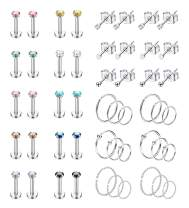 Vegolita 25Pairs Stainless Steel Cartilage Stud Earrings for Women Hoop Earrings CZ Ball Helix Tragus Daith Labret Lip Piercing